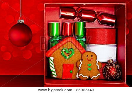 Red Gift Box Filled With Gingerbread Man And Gingerbread House, Red & Green Party Favors, Decorative