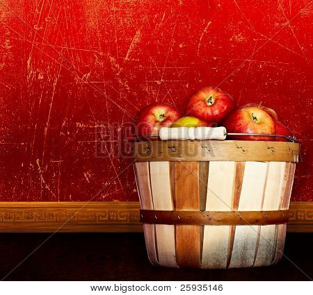Basket Of Red Delicious & Apples ~ Vintage Antique Textured & Distressed Red & Taupe Plast