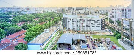 Panoramic Aerial View Construction Site Foundation Works At Eunos Neighborhood, Singapore