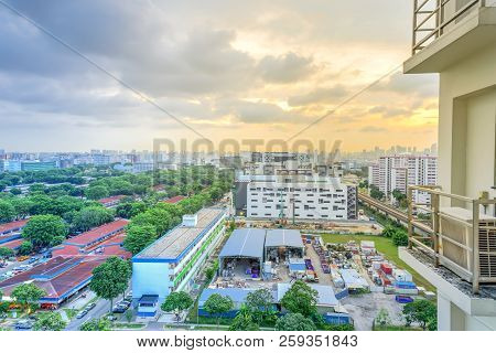 Aerial View Construction Site Foundation Works At Eunos Neighborhood In Singapore