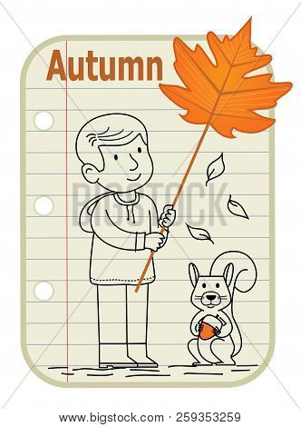 Line Drawing Of A Boy Holding A Sign With A Leaf On It And A Squirrel Holding Acorn Sitting Next To