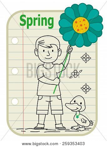 Line Drawing Of A Boy Holding A Sign With A Flower On It And A Duck Standing Next To Him. A Notepad