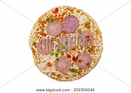 Frozen Pizza With Salami Isolated On The White Background