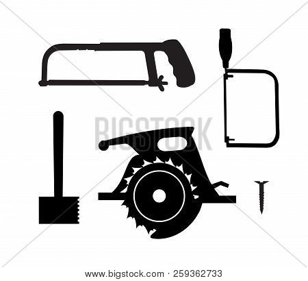 Silhouette Building Tool Set. Drawing Plan Layout Of Industrial And Home Instrument For Construction