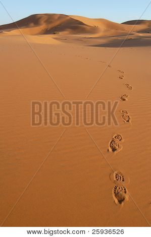 Human footsteps in the sand dunes of Erg Chebbi in the Sahara Desert, Morocco.