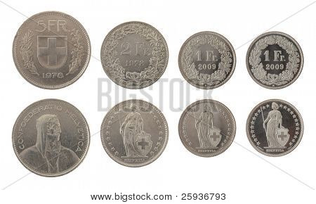 Set of Swiss Franc coins isolated on white poster