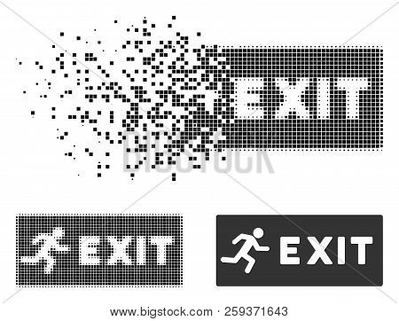 Emergency Exit Icon In Fragmented, Dotted Halftone And Whole Versions. Pixels Are Grouped Into Vecto
