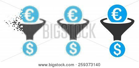 Euro Dollar Conversion Funnel Icon In Fragmented, Pixelated Halftone And Entire Versions. Points Are