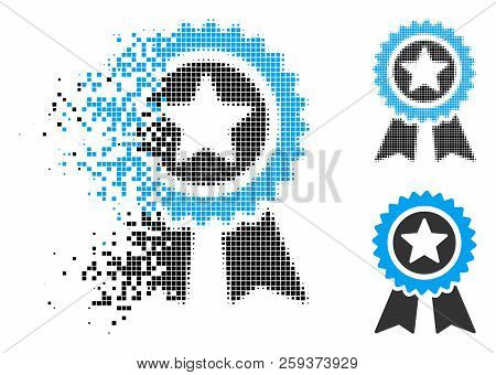 Guarantee Icon In Fractured, Dotted Halftone And Entire Versions. Pieces Are Arranged Into Vector Di