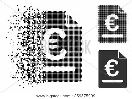Euro Invoice Icon In Dispersed, Pixelated Halftone And Whole Variants. Cells Are Combined Into Vecto