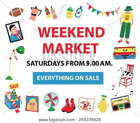 The Poster For Market Fair Like Night Market, Weekend Market, Or Flea Market, Colorful Doodle Style