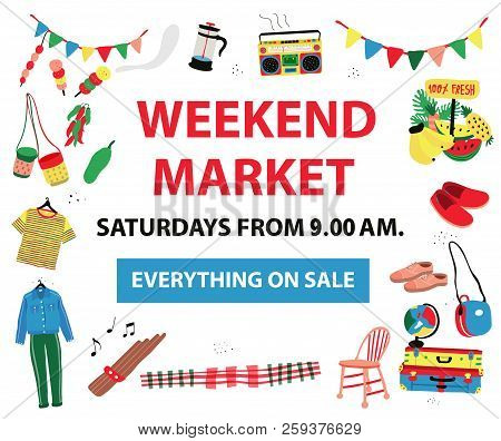 The Poster For Market Fair Like Weekend Market,flea Market,night Market, All Colorful Doodle Style O