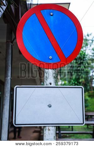 Metal Plate, Traffic Prohibitory Sign: Parking Is Prohibited, No Parking. The Sign, Usually Shown As