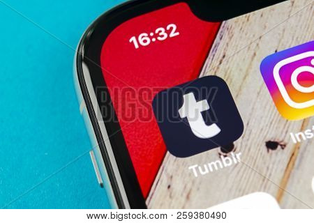 Sankt-petersburg, Russia, September 19, 2018: Tumblr Application Icon On Apple Iphone X Smartphone S