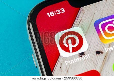Sankt-petersburg, Russia, September 19, 2018: Pinterest Application Icon On Apple Iphone X Smartphon