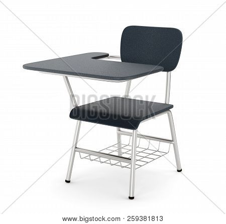 School Or College Desk Table With Chair Isolated On White Background. Black Plastic Piece Of Furnitu