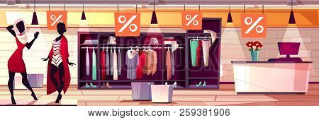 Fashion Boutique Interior Vector Illustration Of Women Clothes And Dresses Sale. Womenswear Mannequi