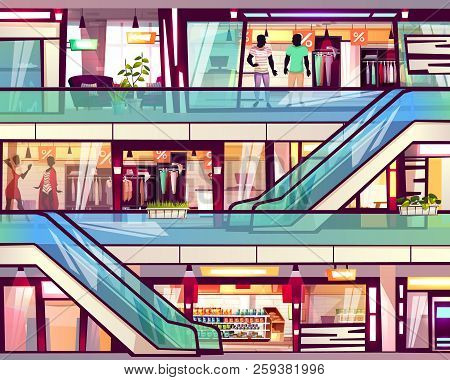 Mall Shop With Escalator Staircase Vector Illustration. Menswear And Womenswear Fashion Clothes Bout