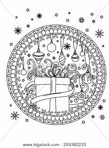 christmas mandala coloring page adult coloring book holiday decore gifts balls and