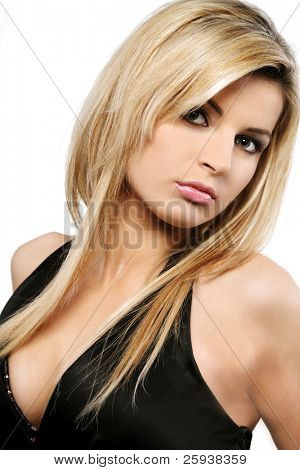 Young beautiful blond Caucasian girl on white background. poster