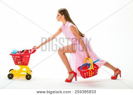 Vintage Housewife Woman Isolated On White. Woman Going To Make Payment In Supermarket. Savings On Pu