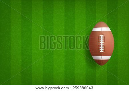 American Football Ball With Green Field Pattern Background. Vector Illustration.