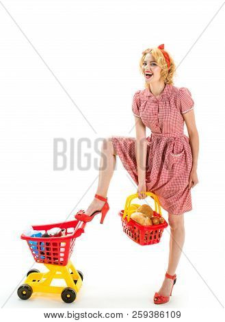 Great Day For Shopping. Just One Moment. Technologies Make Shopping Easier. Happy Retro Woman Go Sho
