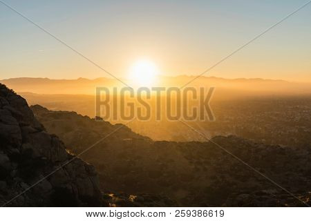 Sunny morning view of the San Fernando Valley in Los Angeles, California.  Shot from the Santa Susana Mountains looking east towards the San Gabriel Mountains.