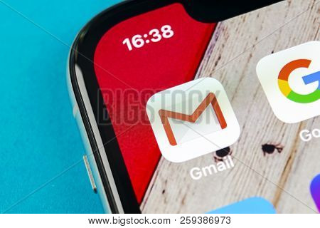 Sankt-petersburg, Russia, September 19, 2018: Google Gmail Application Icon On Apple Iphone X Smartp