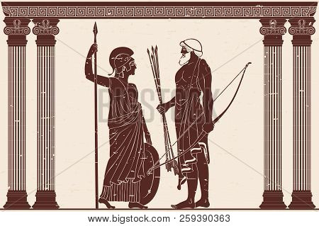 The Hero Of The Ancient Greek Myths Athena Pallada And Odysseus. Warriors With A Weapon In The Templ
