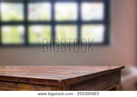 Wooden Board Empty Table Space Platform In Front Of Blurred Living Room Of The Background - Can Be U