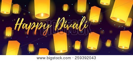 Lettering Congratulation Happy Divali With Paper Lanterns