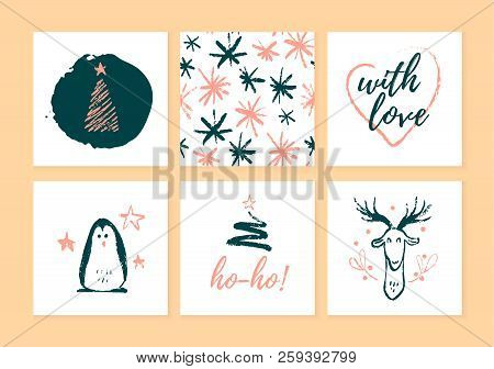 Vector Collection Of Christmas Cards, Gift Tags And Badges Isolated On Light Background. Emblems For