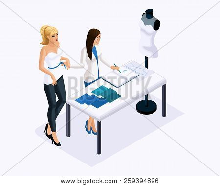 Isometric Is A Set Of Tailors Sewing Wedding Dresses, A Client On A Fitting Dress. Sewing The Best A
