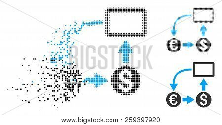 Cashflow Euro Exchange Icon In Fragmented, Dotted Halftone And Undamaged Versions. Points Are Arrang