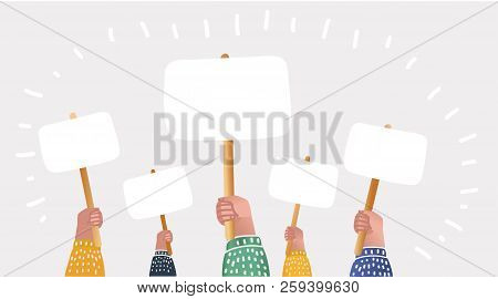 Vector Cartoon Illustration Of Large Crowd Of People Demonstrating With Blank Signs. Human Hands Up