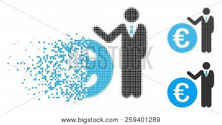 Euro Economist Icon In Fragmented, Dotted Halftone And Whole Versions. Pieces Are Arranged Into Vect