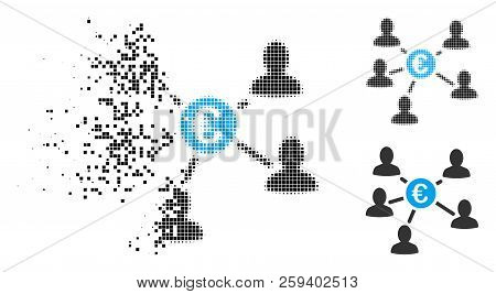 Euro Social Links Icon In Fragmented, Pixelated Halftone And Entire Versions. Fragments Are Organize