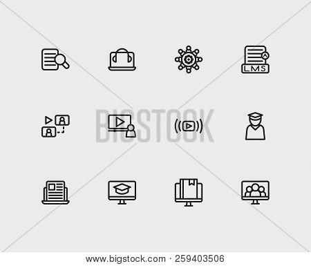 Online Education Icons Set. Education E-learning And Online Education Icons With Online Knowledge, V