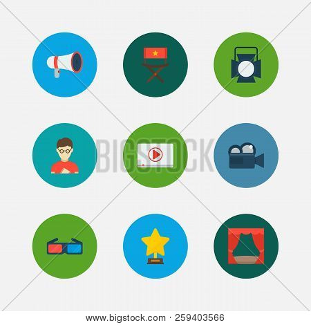 Video Icons Set. Play Video And Video Icons With Movie Loudspeaker, Theater Curtain And Award. Set O