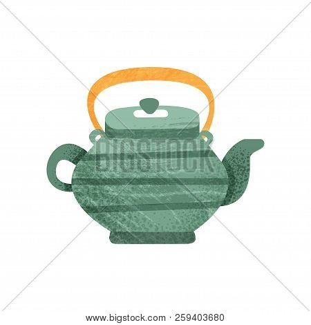 Green Teakettle With Stripes And Orange Handle. Ceramic Utensil Theme. Flat Vector Icon With Texture