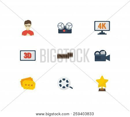Movie Icons Set. Cinema Tape And Movie Icons With Cinema Reel, Camera And Movie Director. Set Of Pro