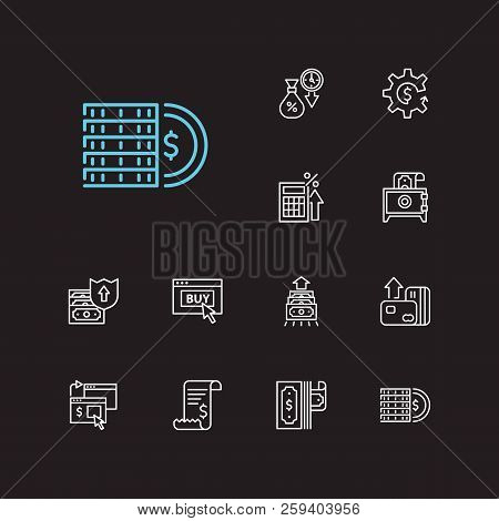 Money Payment Icons Set. Online Payment And Money Payment Icons With Coins, Credit Card And Tax Calc