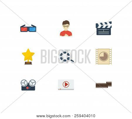 Video Icons Set. Play Video And Video Icons With Movie Director, Cinema Reel And Award. Set Of Profe