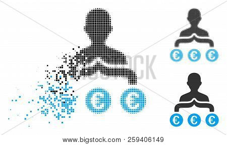 Euro Capitalist Icon In Fractured, Dotted Halftone And Entire Variants. Fragments Are Arranged Into