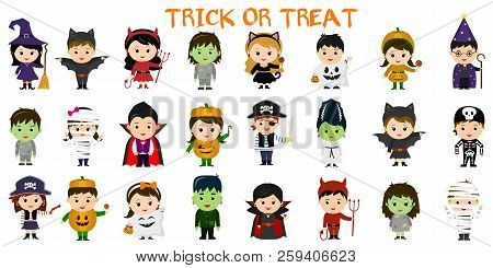 Mega Set Of Halloween Party Characters. Twenty Four Children In Different Costumes For Halloween On