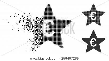 Euro Hit Parade Star Icon In Fractured, Dotted Halftone And Undamaged Versions. Particles Are Combin