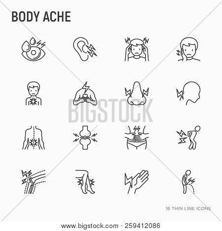 Body Aches Thin Line Icons Set: Migraine, Toothache, Pain In Eyes, Ear, Nose, When Urinating, Chest
