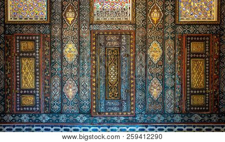 Cairo, Egypt - August 26 2018: Floral Ornaments Of Wooden Embedded Cupboards Painted With Colored Ge