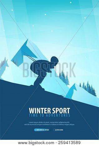 Winter Sport. Ski And Snowboard. Mountain Landscape. Snowboarder In Motion. Vector Illustration